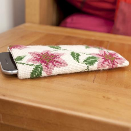 Clematis Spectacle Case with phone on bedside table