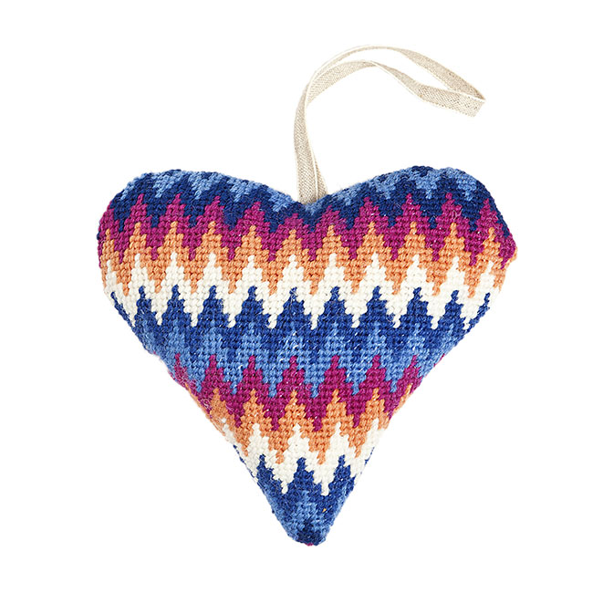 Blue Bargello Laveneder Heart