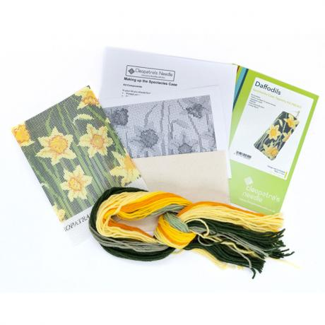 Daffodils (Dark) Spectacle Case - kit contents