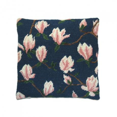 Magnolia on Blue Herb Pillow