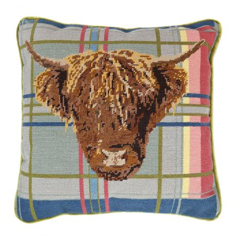 Highland Cow on Tartan 14'' Cushion