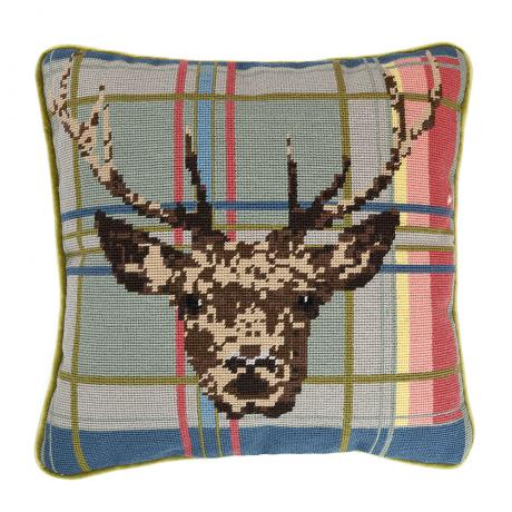 Stag on Tartan 14'' Cushion
