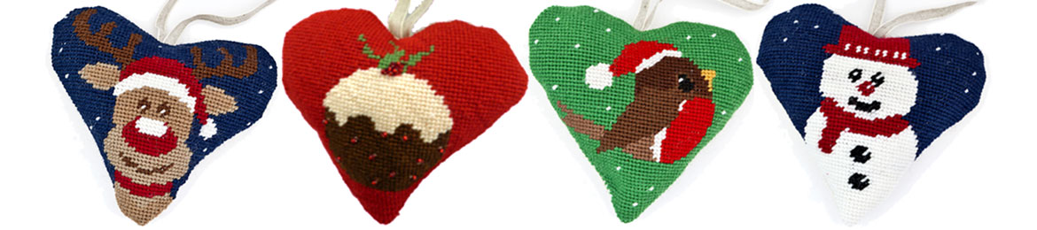 Lavender Christmas Hearts Tapestry Kits