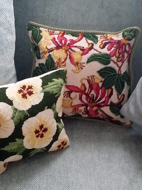 Jennifer Barnard - Pink Honeysuckle and Hibiscus Cushions